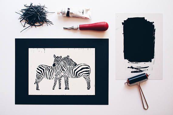 Two Zebras in Love  Original Handprint