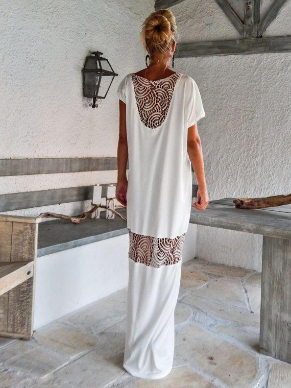 Kaftan vestido marfil con detalles de encaje de malla / asimétrica abrir nuevo vestido Oversize flojo vestido / #35086 Este maxi vestido elegante, sofisticado, suelto y cómodo, se ve tan impresionante, con un par de tacones como lo hace con pisos. Usted puede usar para una ocasión especial o puede ser tu vestido cómodo. >>> Ver carta de colores aquí: https://www.etsy.com/listing/235259897/viscose-color-chart?ref=shop_home_active_4 -Artícul...