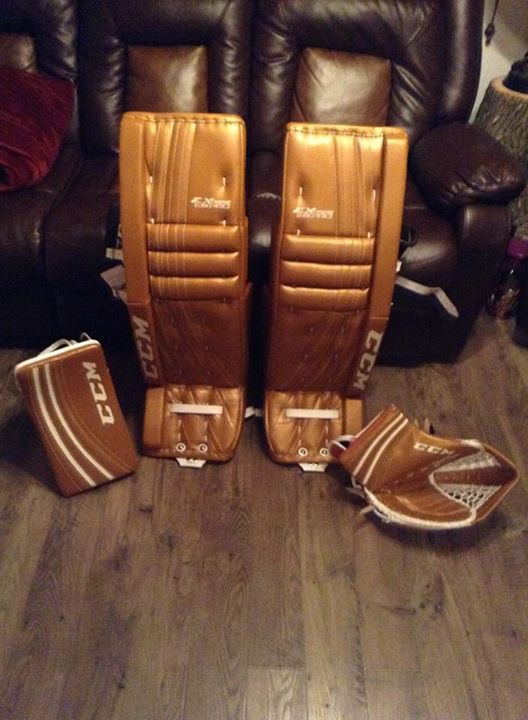 CCM Extreme Flex Pro custom goalie pads and gloves made for a customer.