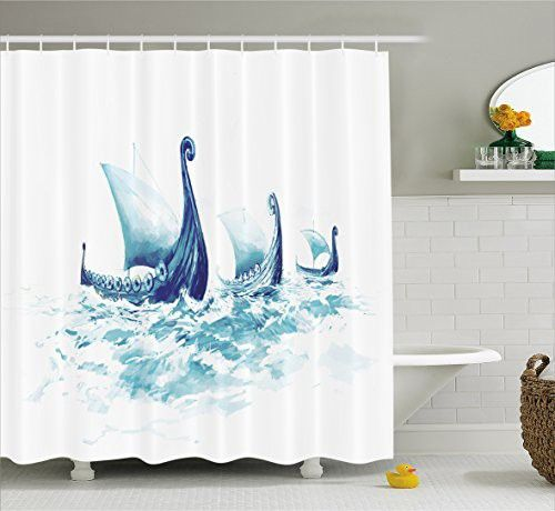 War Home Decor Shower Curtain by Ambesonne, Portrait of Viking Drakkars in Rough Nordic Sea Wood Ships of Scandinavian Ancient, Fabric Bathroom Decor Set with Hooks, 70 Inches,