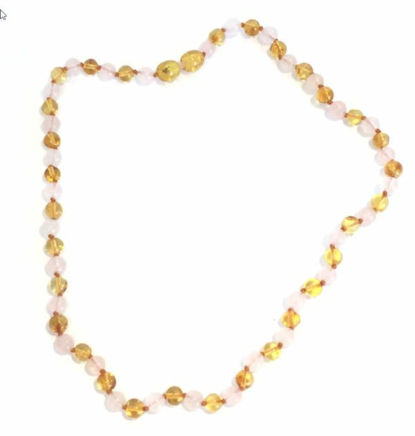 Adult amber and rose quartz necklace