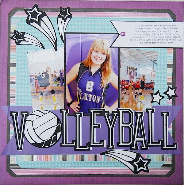 cricut, diy, scrapbook, scrapbooking, layout, single page, family, teen, sport, volleyball