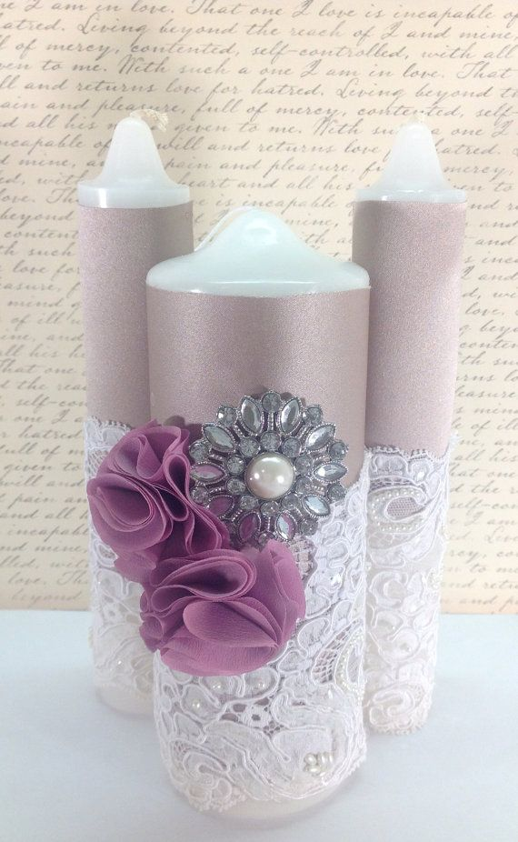 Hey, I found this really awesome Etsy listing at https://www.etsy.com/listing/168458171/lace-unity-candle-set-champagne-mauve