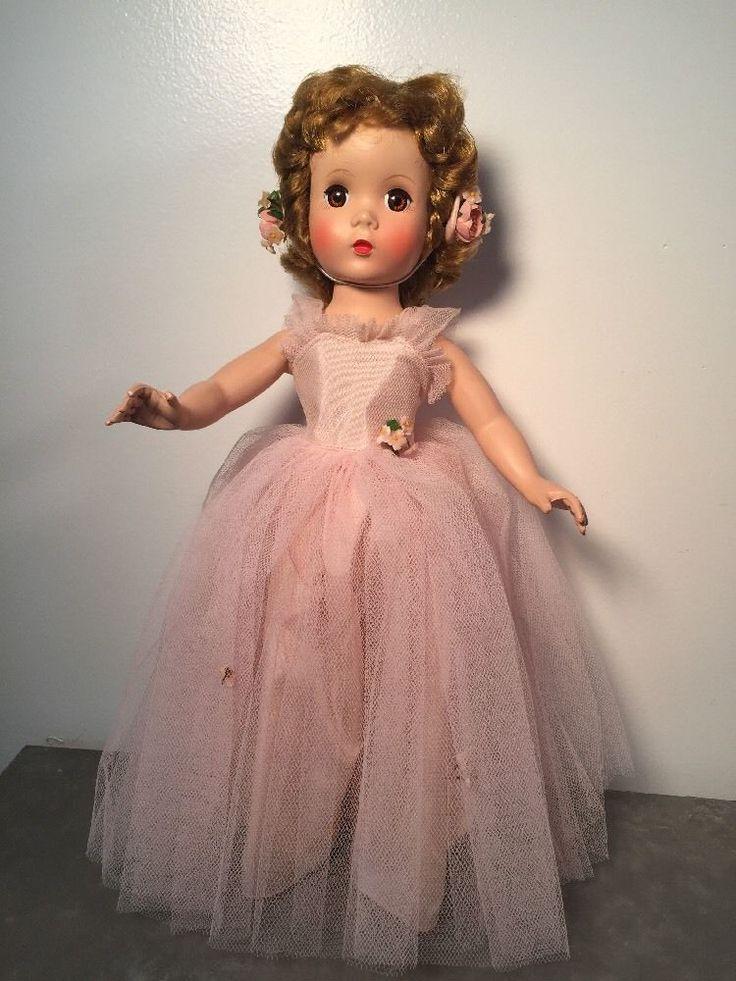 "**MINT** Madame Alexander Rosamund Bridesmaid 15"" Pink Tulle, Maggie Face 1950s #MadameAlexander #DollswithClothingAccessories"