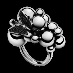 Georg Jensen MOONLIGHT GRAPES ring – oxiderat sterlingsilver och 18 kar. vitt guld med svarta diamanter, stor