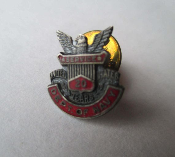 Department of the Navy Vintage 20 Year Service Pin by HobbitHouse