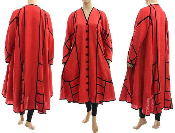Boho linen maxi coat duster in coral red spring summer linen