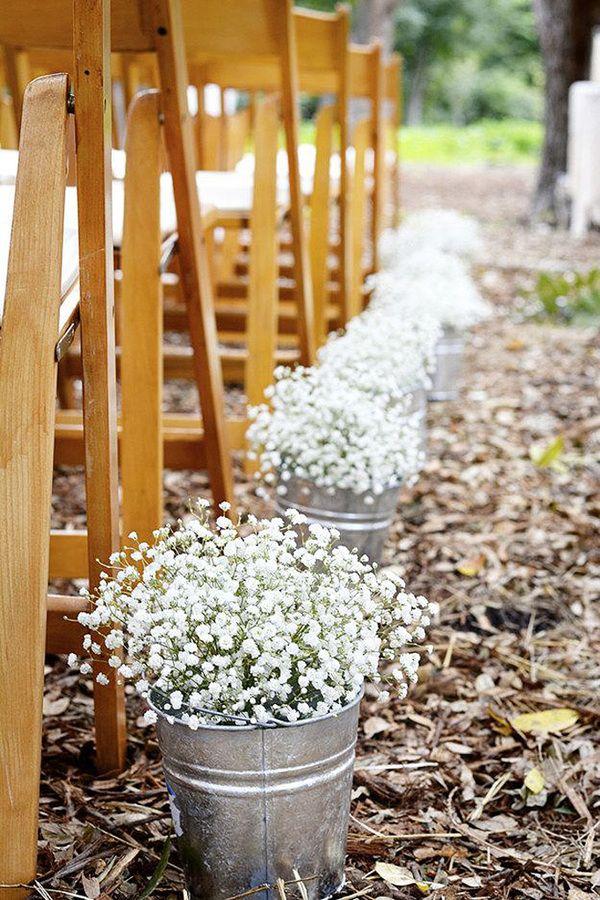 Élégant babybreath idées de décoration de mariage en plein air