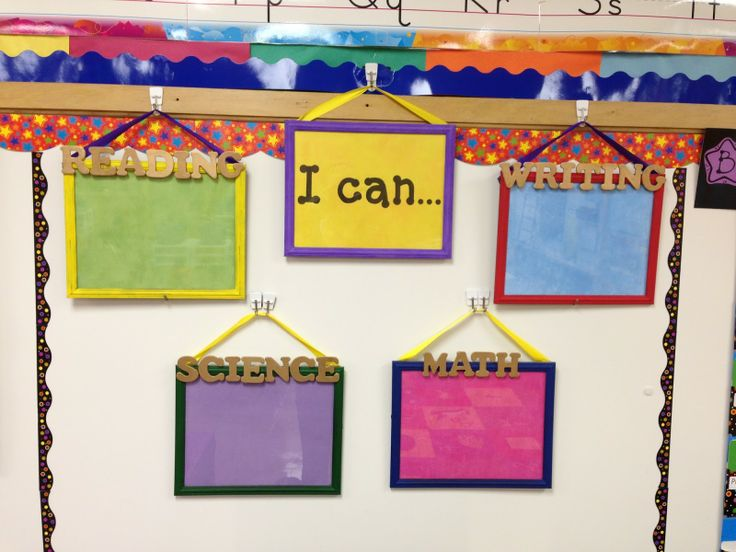 A fun way to display your objectives for the day! You can use dry erase markers to write your objectives and they wipe off easily for you to reuse each day!