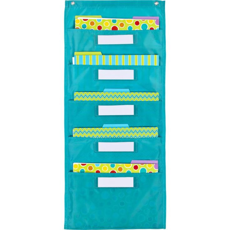 The File Folder Storage: Teal Pocket Chart features 5 storage pockets and 5 clear label pockets making them perfect for organizing your week. The fresh contemporary color of this new file folder stora