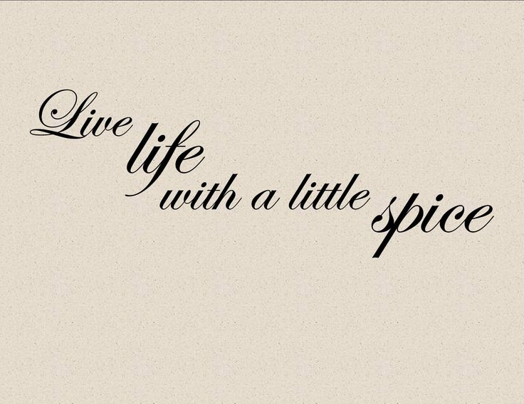 LIVE LIFE WITH A LITTLE SPICE Vinyl wall lettering cooking kitchen quotes and sayings home art decor. $9.99, via Etsy.