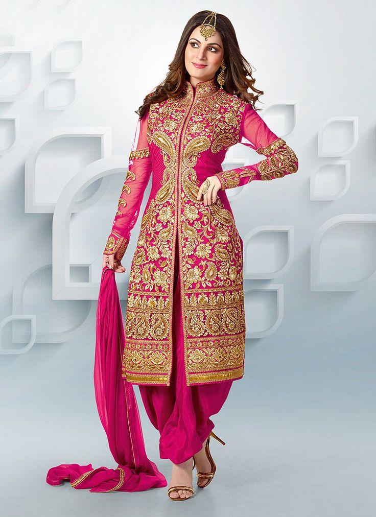 Cbazaar Pink Georgette Shraddha Arya Patiala Suit