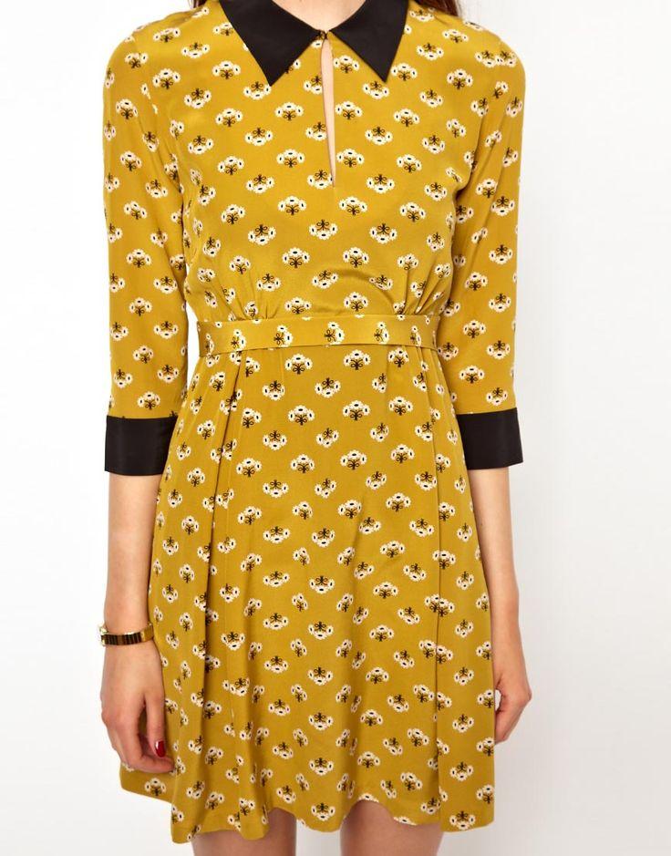 Orla Kiely Collar Detail Dress in Posey Print Silk