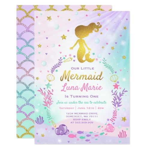 mermaid birthday invitation under the sea party in 2018 mermaid