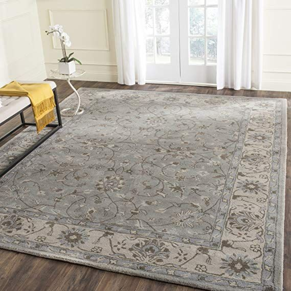 Safavieh Heritage Collection Hg862a Handcrafted Traditional Oriental Beige And Grey Wool Area Rug 8 X 1 Traditional Area Rugs Wool Area Rugs Floral Area Rugs