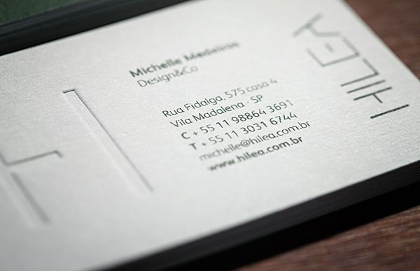 Logo and blind embossed duplex business card for social and environmental art project developer Hilea created by Hyperlocaldesign.