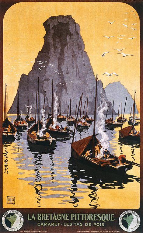Cette affiche de chemin de fer, œuvre de Charles-Jean Hallo, dit Alo (1882-1969), présente les Tas de Pois à Camaret