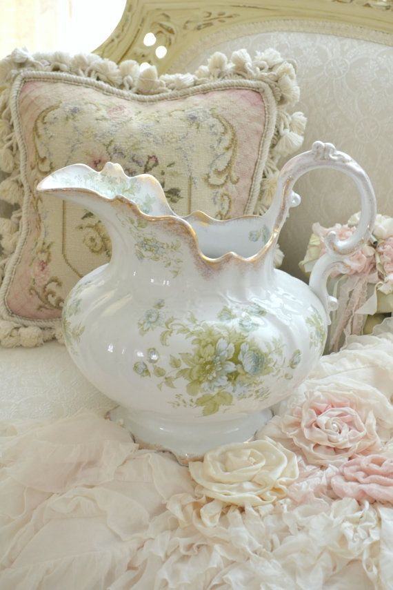 Gorgeous Antique Porcelain Pitcher by Jenneliserose on Etsy