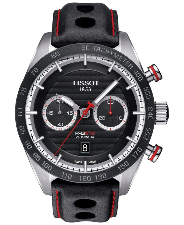 Tissot Men's Swiss Automatic Chronograph Prs 516 Black Leather Strap Watch 45mm T1004271605100