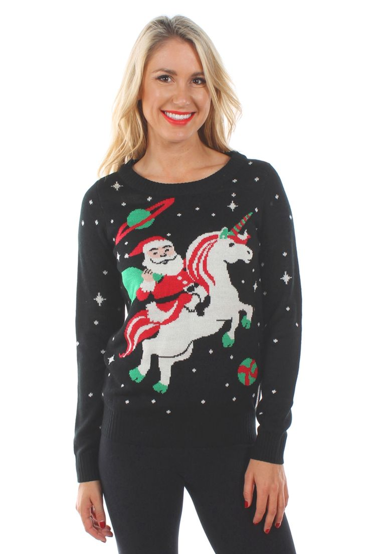 Yes! Finally, Santa is bringing you what you've always wanted for Christmas. He's delivering a unicorn right to your door on this ugly holiday sweater. Other little girls wanted ponies, but those are boring.