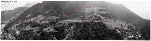 La frana preistorica del Vajont individuata dal geologo Edoardo Semenza (fonte: mostra ''La Storia del Vajont: la conoscenza della frana attraverso le foto di Edoardo Semenza'')