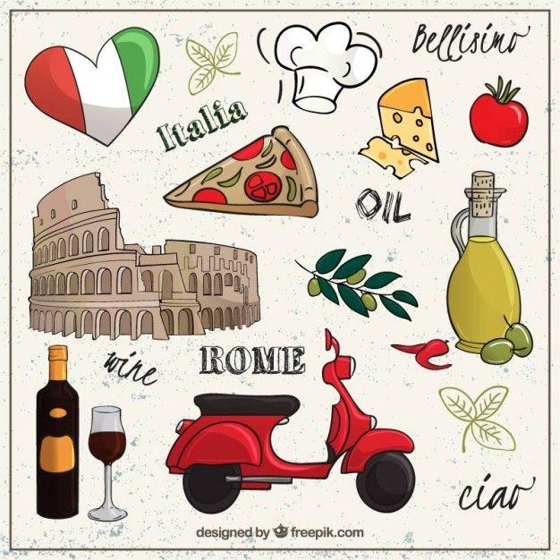 Sketchy collection d'éléments Rome Vecteur gratuit