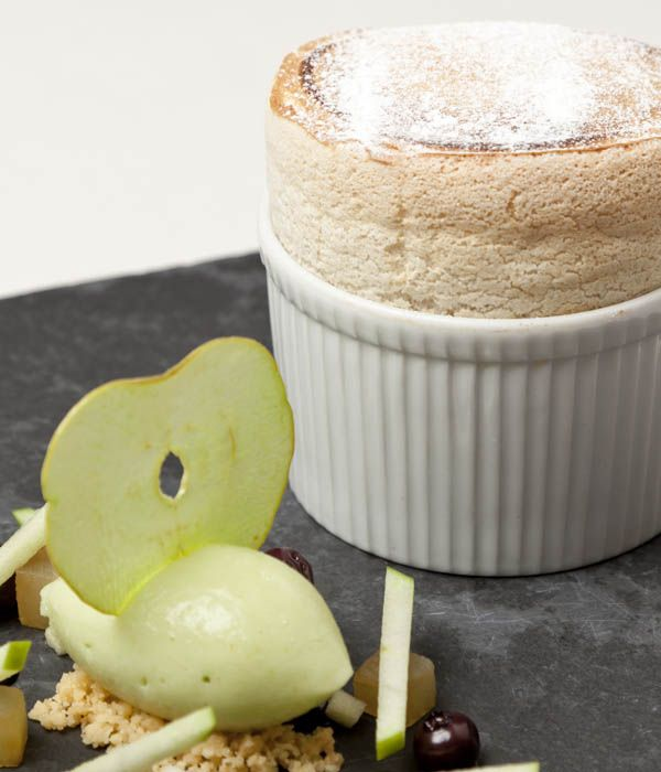 This delicious gingerbread soufflé recipe from Simon Haigh, pairing the airy pudding with a sweet quenelle of apple sorbet.