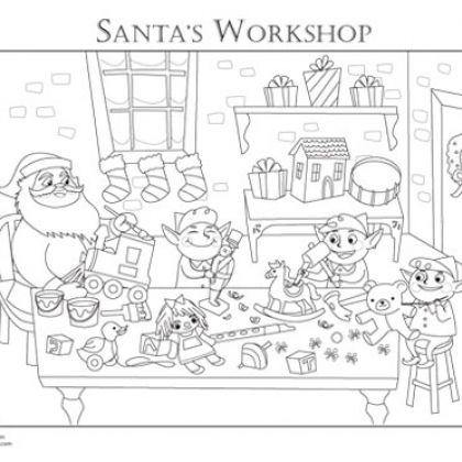 free santas workshop coloring pages - photo#7
