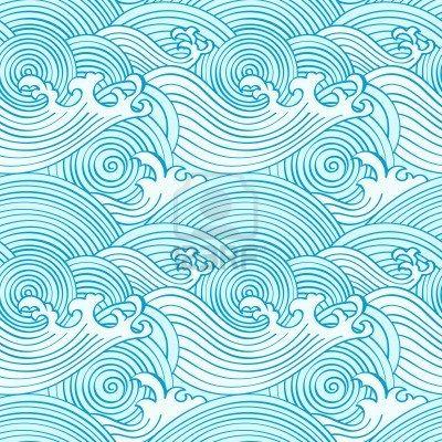Japanische nahtlose Wellen Muster in Ocean Farben Stockfoto - 9447976