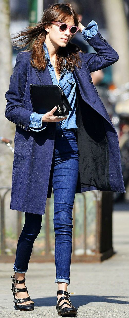 Alexa Chung Street Style - total denim - blue coat - black shoes