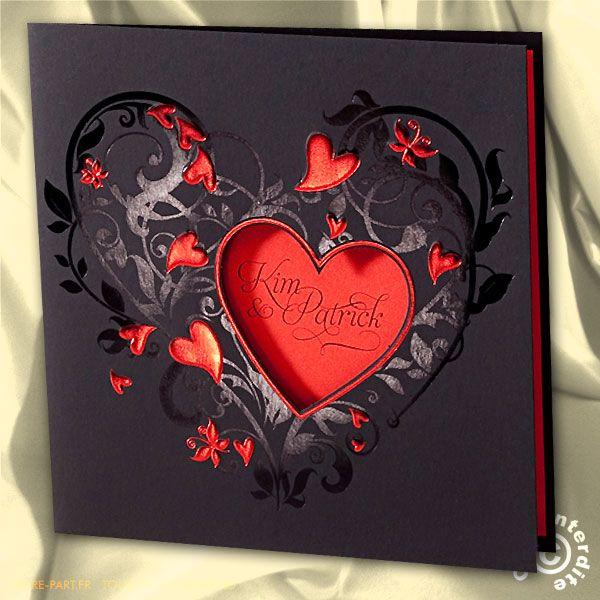 Faire-part de mariage noir et rouge coeurs en relief - MH13-020