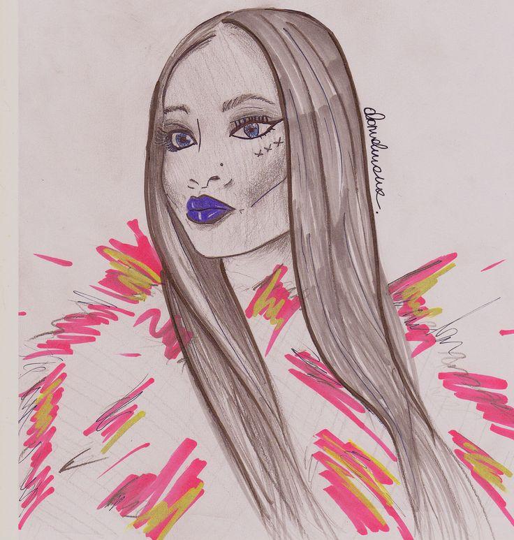 Dominika Werner studentka MSKPU, ilustracja modowa, rysunek żurnalowy  MSKPU fashion student's fashion illustration.