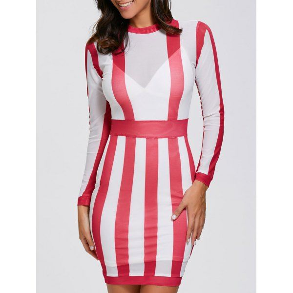 Long Sleeve Striped See Thru Dress - RED/WHITE S