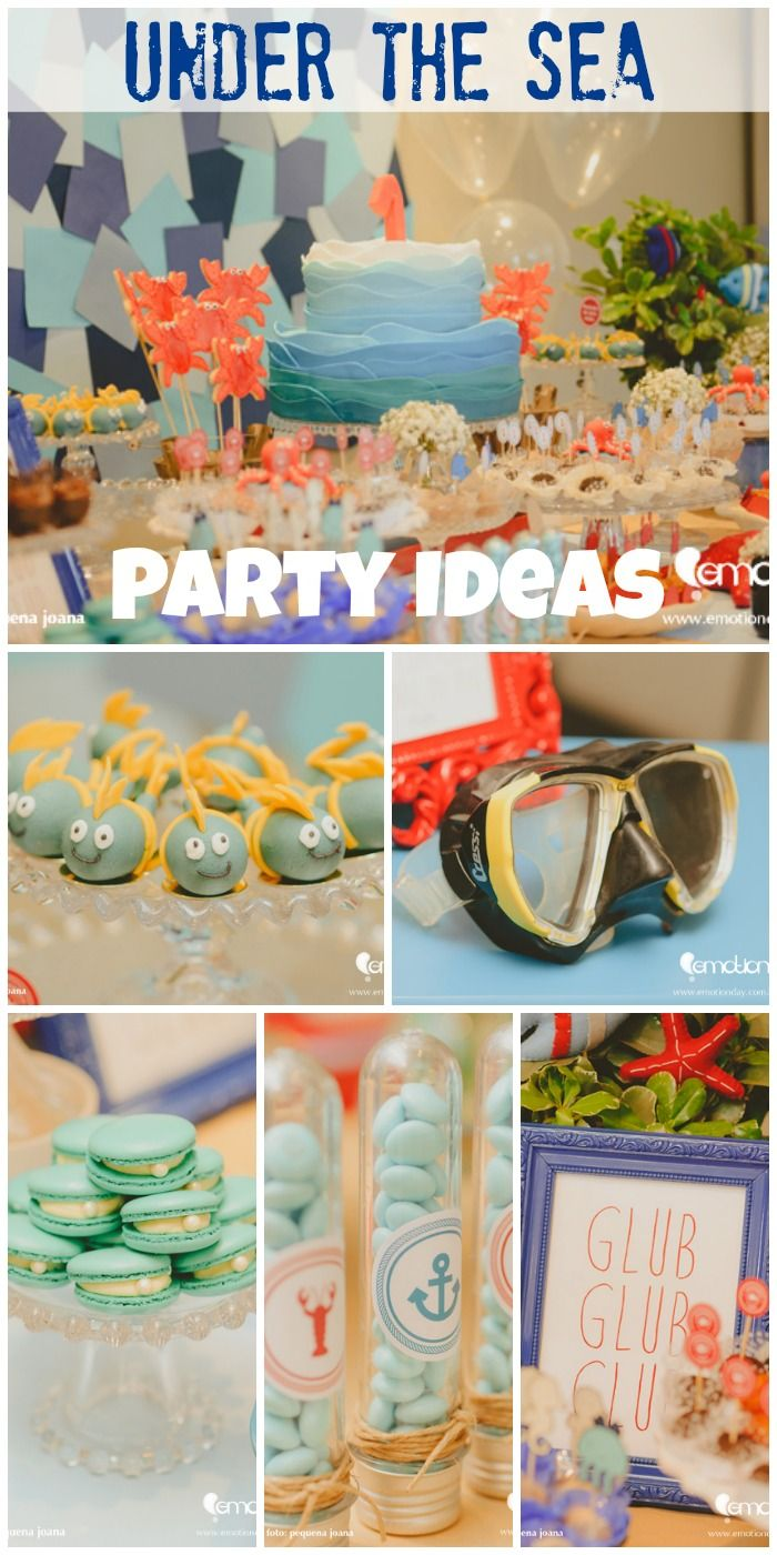 Terrific ideas at this Under the Sea boy birthday party! Love the ocean birthday cake! See more party ideas at CatchMyParty.com.