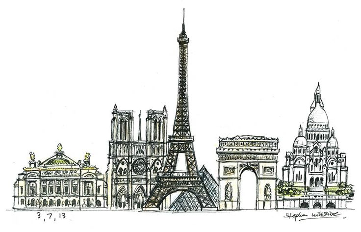 Paris montage - drawings and paintings by Stephen Wiltshire MBE