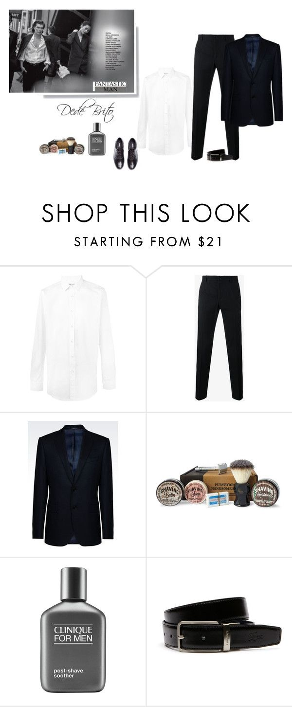 """""""Sem título #2015"""" by dedebrito ❤ liked on Polyvore featuring Yves Saint Laurent, Dolce&Gabbana, Armani Collezioni, Clinique, Lacoste, Undercover, men's fashion and menswear"""