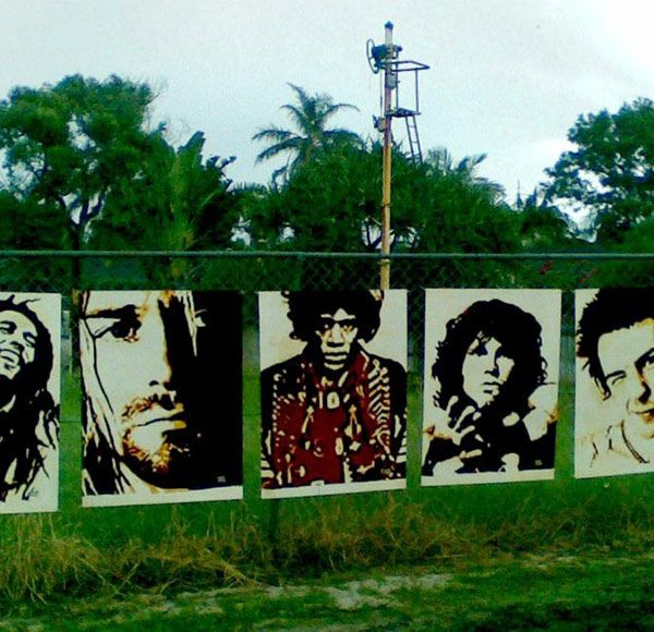 5 icons of rock. Painted in acrylic on MDF board. Placed in Byron Bay. Long live Free Art!