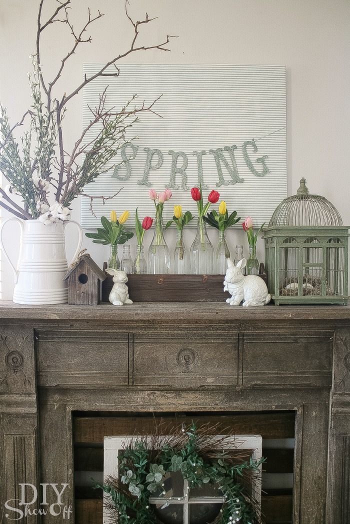 Fireplace Design fireplace mantle decor : 59 best Spring Hearth & Mantel Ideas images on Pinterest