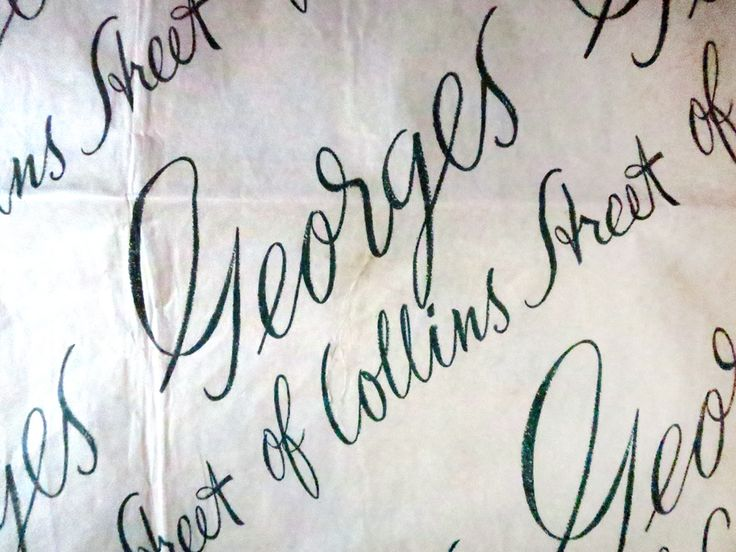 Georges stores, Collins St, Melbourne, vintage wrapping paper creased.