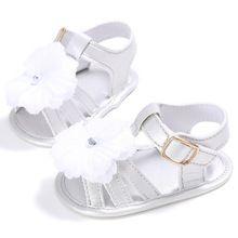 ROMIRUS Sólida Verão Bebê Recém-nascido Crianças Sapatos Infantil Criança Flor Grande Com Solado Macio Anti-Slip Meninas Princesa Sapatos de Bebe calçado(China)