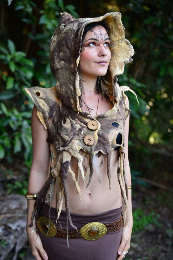 Felt Melted Tree Roots Woodland Nymph Warrior Princess Of The Woods Vest With Pointed Pixie Hood OOAK