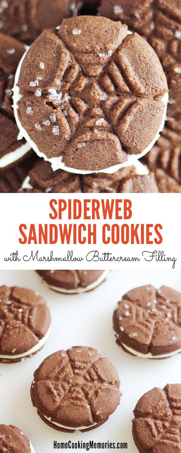 Fun Halloween treat! Spiderweb Sandwich Cookies with a delicious Marshmallow Buttercream Filling! Easy recipe - great for Halloween parties.