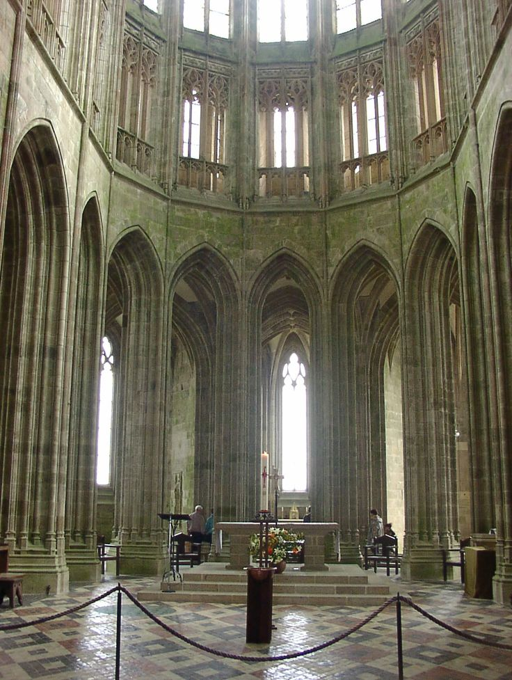 Inside the abbey at Mont St. Michel.