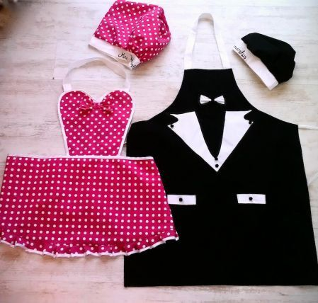 Bride-Groom Apron Set Pink White Polka Dot with Chef Hat, Scub Cap,Cook Cap, Cook Hat, Made to Order Apron, Made to Order Cook Hat  -Great Gift for newly married couples  -Great Bridal Shower gift!  -Fun for Fiesta ware Parties  -Perfect For Grilling Or Parties!  -This Apron is made wit...