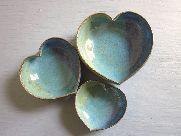 pottery heart bowls nesting dishes miniature small ceramics pottery 4 inches. $30.00, via Etsy.