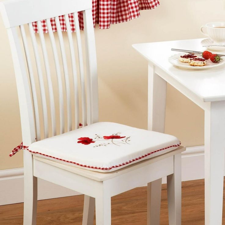 Pillows & Cushions Poppies Kitchen Chair Seat Cushion White Red Color 100 Percent Polyester Material Graceful Floral Design 16 X 16 Inch Chair Seat Pad Kitchen Decor Ideas High Quality Kitchen Chair Cushions