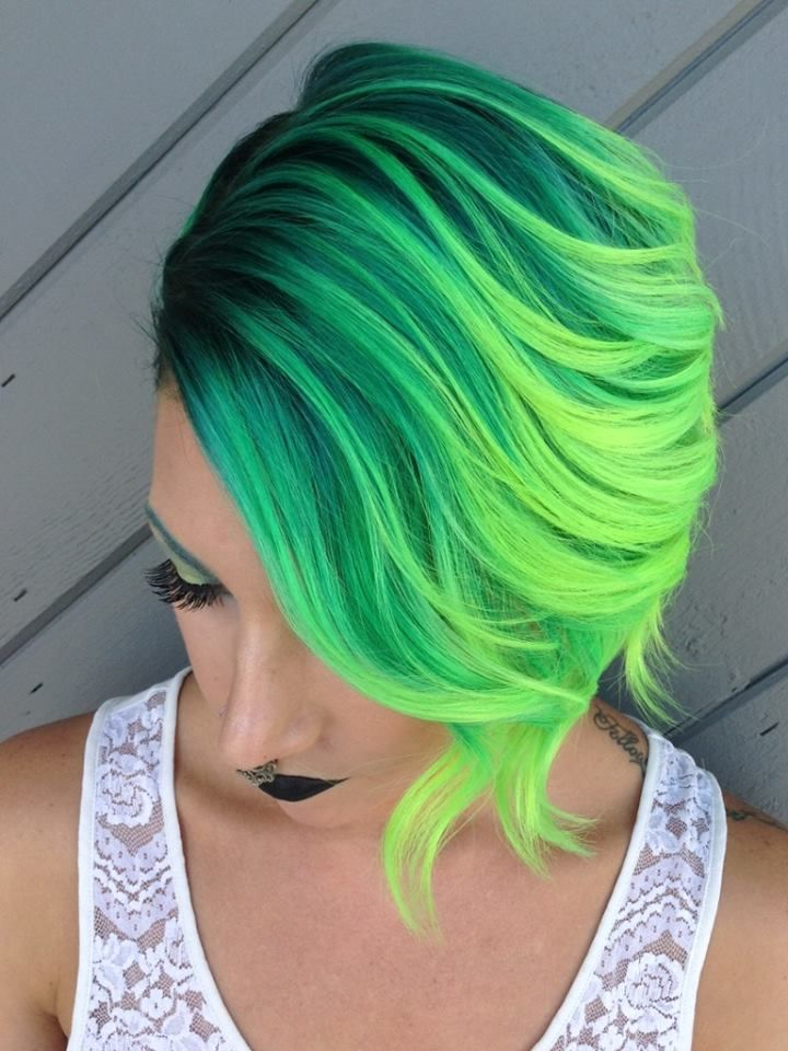 Asymmetrical bob and neon yellow and green color design by Brandy Melchin hotonbeauty.com
