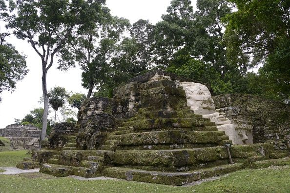 The Temple of the Masks in the Uaxactun archeological site Uaxactun municipality Peten department some 570 km north of Guatemala City on the border...