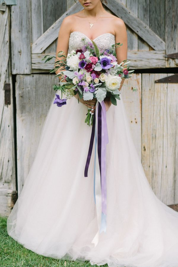 Blue + purple ribbon accented bouquet: http://www.stylemepretty.com/california-weddings/cupertino/2015/11/15/romantic-northern-california-winery-inspiration-shoot/ | Photography: http://retrospectimages.com/
