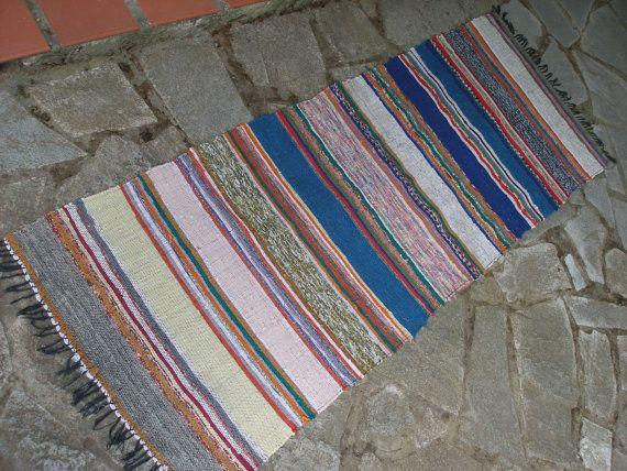 #Vintage #Rag #Rug #Runner  #Blues #Yellows #Pinks by #VintageHomeStories #Rustic #Scandinavian #HomeDecor #Hallway #Kitchen #Floor #Decor